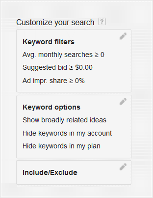 Google Adword Customize your Search